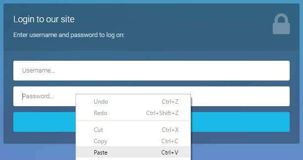 Don't let them paste passwords...